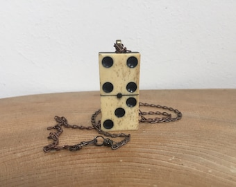Antique Victorian Bone and Ebony  'Domino' Pendant from The Curio Cupboard - '4/3' with vintage copper chain and hand made wirework fastener