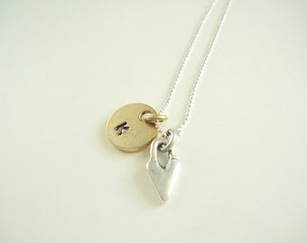 Love is Personal Initial, Heart, Gold-plate, Sterling Necklace, Custom, Gift