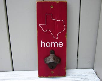Texas Home Wall-mount Bottle Opener (Maroon)