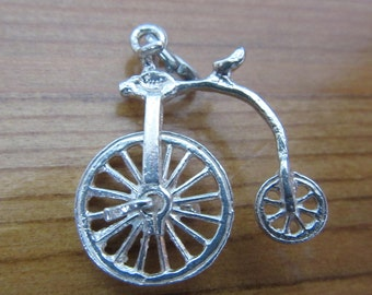 vintage 925 sterling silver charm Penny Farthing Bike Nuvo 1.9 g