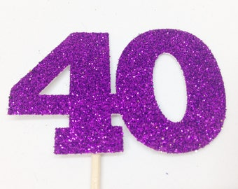 40 Glitter Large Cake Topper - Birthday Party, 40th Birthday, Forty, Fortieth