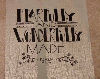 Bible Verse Mixed Media Painting Psalm 139:14 'Fearfully and wonderfully made.'