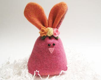 Hot Pink Easter Bunny Rabbit Easter Basket Filler Decoration Woodland Nursery Decor Woodland Stuffed Animal Plush Forest Animal 114