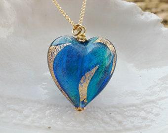 Venetian Murano Glass Heart Necklace - Huge