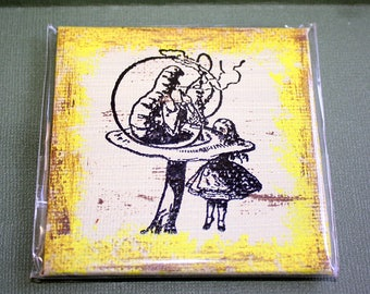 Alice and the Caterpiller Mini Canvas Magnet - Three by Three Inch