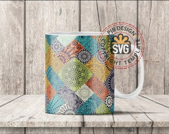 Template design for Dye Sublimation or Waterslide 10oz Mugs - Mandala Theme - Commercial Use