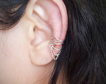 Silver Chain Ear Cuff  Silver plated Chain Ear Wrap