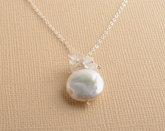 White Pearl Necklace, Coin Pearl Necklace, Pearl Sterling Silver Necklace, June Birthstone Necklace