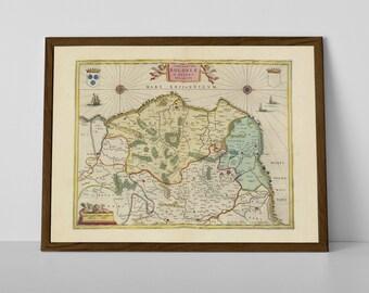 Pas-de-Calais, old map of France reproduction print | Le Portel, Coquelles, Desvres, Éperlecques, Cucq