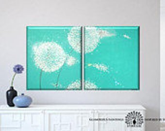 Original abstract art Swarovski® & glitter. Dandelion decor. Teal mint turquoise modern art diptych. Large painting on canvas. Dandelion art