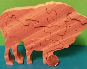 Wooden Mini Buffalo with Calf Puzzle