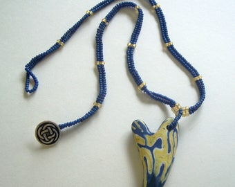 Blue and Yellow Polymer Clay Heart Pendant with Matching Beaded Necklace by Carol Wilson of Jet'adorn