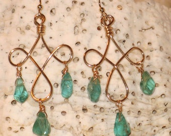 Gold and Green Apatite Chandelier Earrings