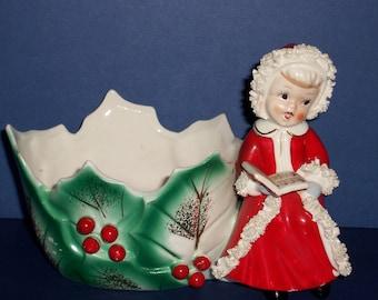 Vintage Napco Christmas Girl Planter, Holly Berry Candy Dish, 1950's Christmas