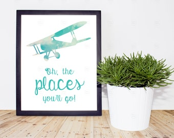"""Printable Vintage Airplane Nursery Image.  """"Oh, the places you'll go!"""""""