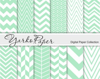 Mint Chevron Digital Paper Pack, Chevron Scrapbook Paper, Digital Background, 12 Sheets, Personal And Commercial Use - Instant Download
