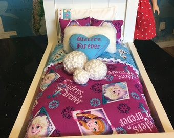 Frozen Anna and Elsa inspired American Girl doll bedding