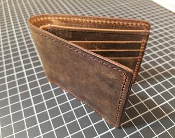 The Scotty, Leather Bi-fold Wallet, Crazy-Horse Buffalo, Distressed Brown Wallet, Two-Fold, Men's Leather, JLLeatherShoppe