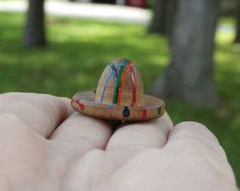 Vintage Multi Colored Painted Sombrero Wooden Button