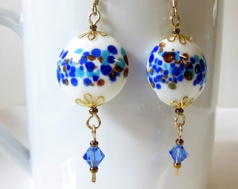 White With Blue and Gold Spots Earrings, Lampwork Earrings with Faceted Blue Crystal Dangle, Blue and Gold Speckles Earrings, Glass Jewelry