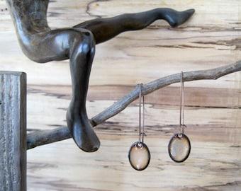 Golden Shimmer Oval Dangle Earrings, Oval Drop Earrings, Copper Enamel, Champaign, Blush Chandelier Earrings Sterling Kidney Ear Wire too