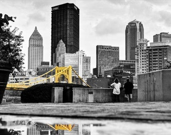 Downtown Pittsburgh Photo, selective color HDR photograph, black, white, yellow, fine photography prints, A Rainy Day in the 'Burgh