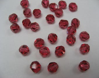 Crystal pierced pearls with facets, old pink, 6 mm (x 120)
