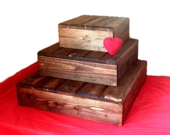 3-Tier Wedding Cake Stand, Reclaimed wood, Customizable/Personalized Rustic Cake Stand, Country Wedding decor