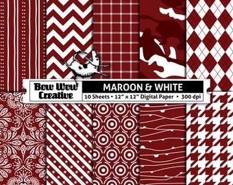 10 maroon, white, digital, paper, scrapbook paper, school colors, team colors, printable, patterns, college, sports, Alabama A&M Bulldogs