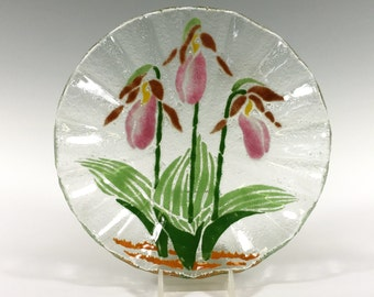 Ladyslipper Bowl, Fused Glass Bowl, Wild Orchid, Pink Flowers, Wild Flowers