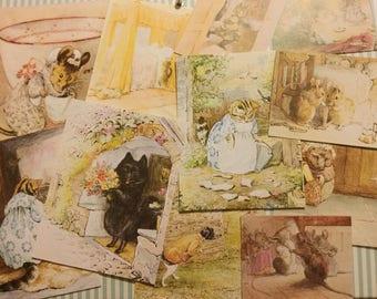 20 x Beatrix Potter book colour illustrations small cut outs. Peter Rabbit, Flopsy, Tom Kitten etc. Scrapbooking, junk journal, collage