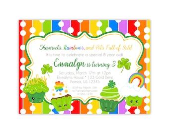 St Patrick Invitation - Rainbow, Shamrock, and Cupcakes, Green Rainbow St Patty Personalized Birthday Party Invite - Digital Printable File