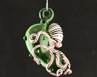 Octopus Christmas Pickle / Christmas Decoration / Holiday Ornament / Emerald Green & Peppermint Swirl / Made to Order