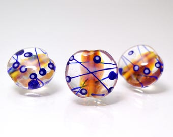 Lines glass beads for jewelry making set beads lampwork handmade artisan beads clear blue orange lentils lampwork necklace bead making
