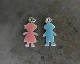 Little girl and little boy charms