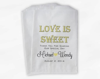 Love Is Sweet Wedding Candy Buffet Treat Bags - Personalized Favor Bags in Light Yellow and Black - Custom Paper Bags (0069)