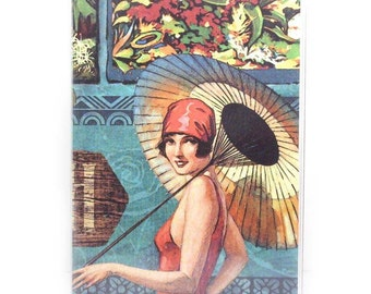 Passport Cover - Retro Bathing Beauty  - tropical island girl beach theme passport holder - travel accessory case