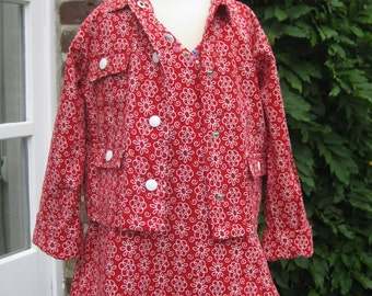 dress with Jacket for kids from very soft corduroy with flowers