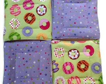 Donut Coaster Set, Quilted Coaster Set, Donut Drink Coasters, Drink Coaster, Beverage Coasters, Hostess Gift, Wedding Gift, Handmade Coaster