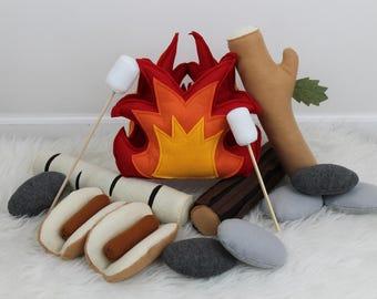 Play Campfire Set, Felt Campfire, Toy Campfire Play Set, Pretend Fire LED Light Up Fire, Logs, Rocks, Play Food, Teepee, Tents, Play Food