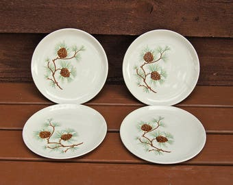 "Set of 4 Pine Cone Dessert Plates, Vintage China Dessert Plates, French Saxon China Plates, 7 1/4"" Pine Cone Plates"