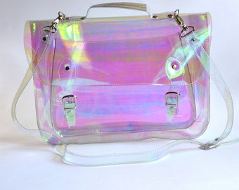 Large bag Number 3 Holographic Clear Vinyl Plastic Satchel crossbody strap (Ready to ship)