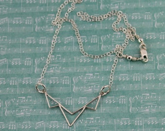 Sterling Silver, Modern Triangular Focal Piece Necklace; Casual, Everyday Necklace on a 16, 17, 18, 19 or 20-Inch Sterling Silver Chain