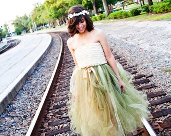 Fine Affair - Custom Ballet Style Long Tulle Skirt - SEWN tutu - pick your colors and length - half pouf skirt - for weddings, formals
