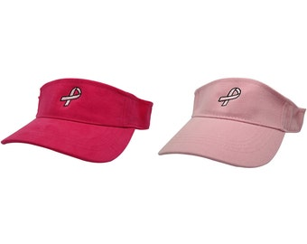 BREAST CANCER RIBBON Embroidered Cotton Visor - 2 Colors - Free Ship