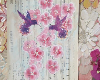 Song at Sunrise... recycled book art original painting on Antique 1950s sheet music, by Cat Seyler designs
