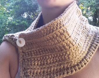 Crochet Beige Cowl/Scarf with White Button for Teen or Adult
