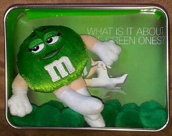 Green M & M Mini Shadow Box