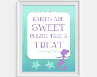 Babies Are Sweet Please Take a Treat Sign, Mermaid Aqua & Purple Shower Sign, Baby Girl Favor Sign,  INSTANT PRINTABLE