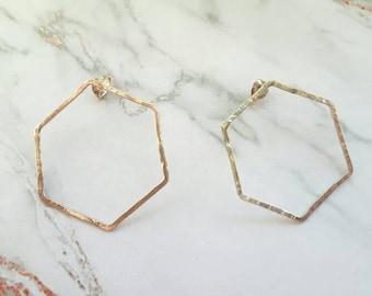 Hexagon earrings | hexagon stud |shape earrings | silver stud earrings | geometric earrings | shape earrings